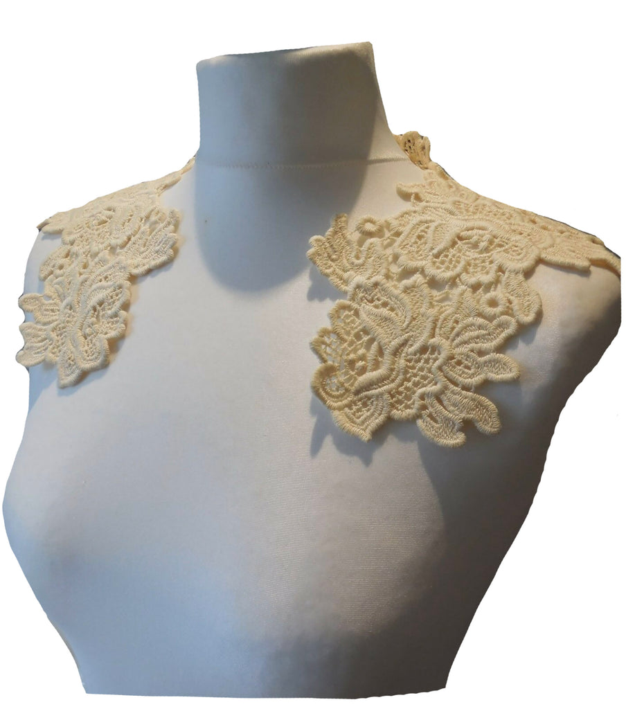 dark ivory cotton floral lace collar applique vintage style sew on floral lace motif