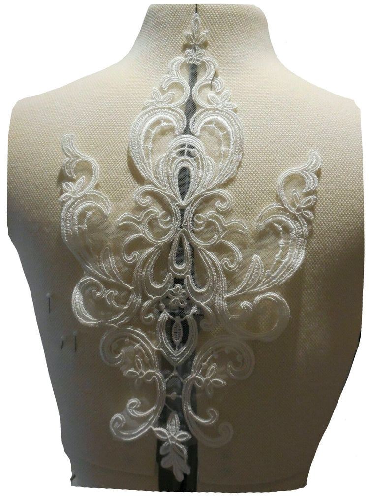 ivory bridal floral lace applique sew on embroidered tulle lace motif patch for dress sewing
