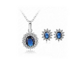 Craftuneed women classic navy blue zircon stone stainless steel necklace and earrings gift set