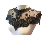 Black or off white bridal floral lace collar applique sew on tulle motif patch - Front side only, no back side.