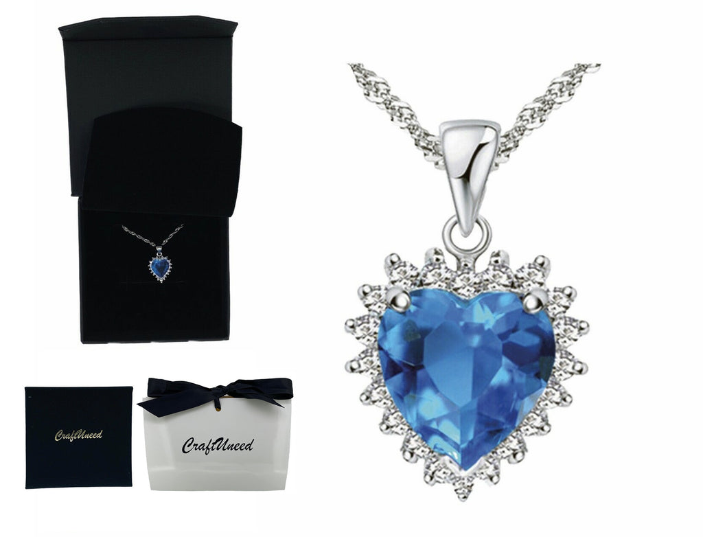 Craftuneed blue ocean heart pendant necklace women 925 silver necklace jewellery gift box