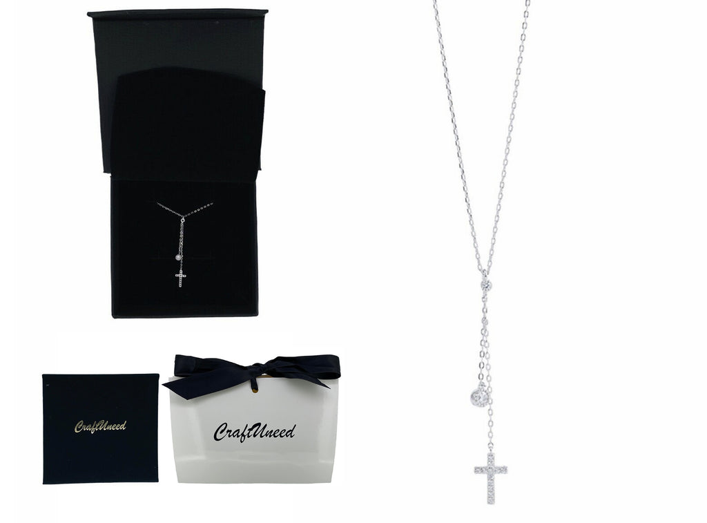 Craftuneed women 925 silver zircon cross pendant necklace baptism jewellery with gift box