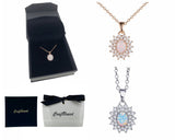 Craftuneed zircon & opal stone pendant necklace women silver plated or rose gold plated necklace gift