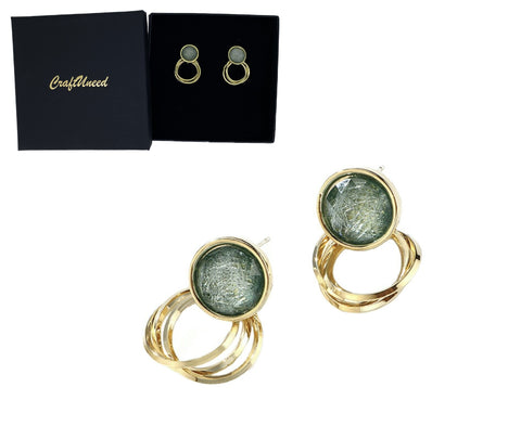 Craftuneed handmade women retro simplicity crystal circle earrings 925 silver pin