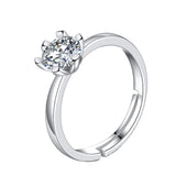 Craftuneed adjustable rings six prong zircon ring 925 silver women girl men birthday gift engagement jewellery gift