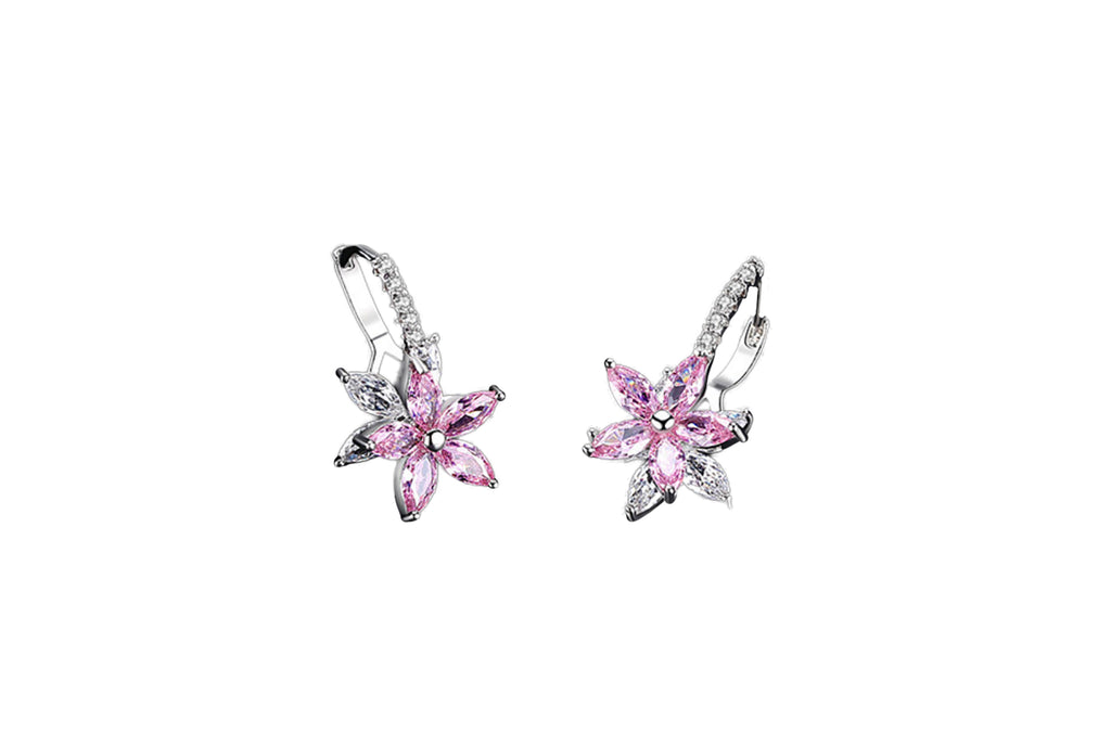 Craftuneed 18k platinum plated flower zircon stones drop earrings with silver ear pins valentine's gift for her mum birthday Christmas gift