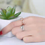 Craftuneed adjustable rings rose gold silver plated heart shape faux diamond ring women girl men birthday engagement jewellery gift