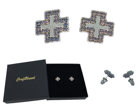 Craftuneed women retro stainless steel cross shape stud earrings with silver pin valentine's gift for her mum birthday Christmas gift idea
