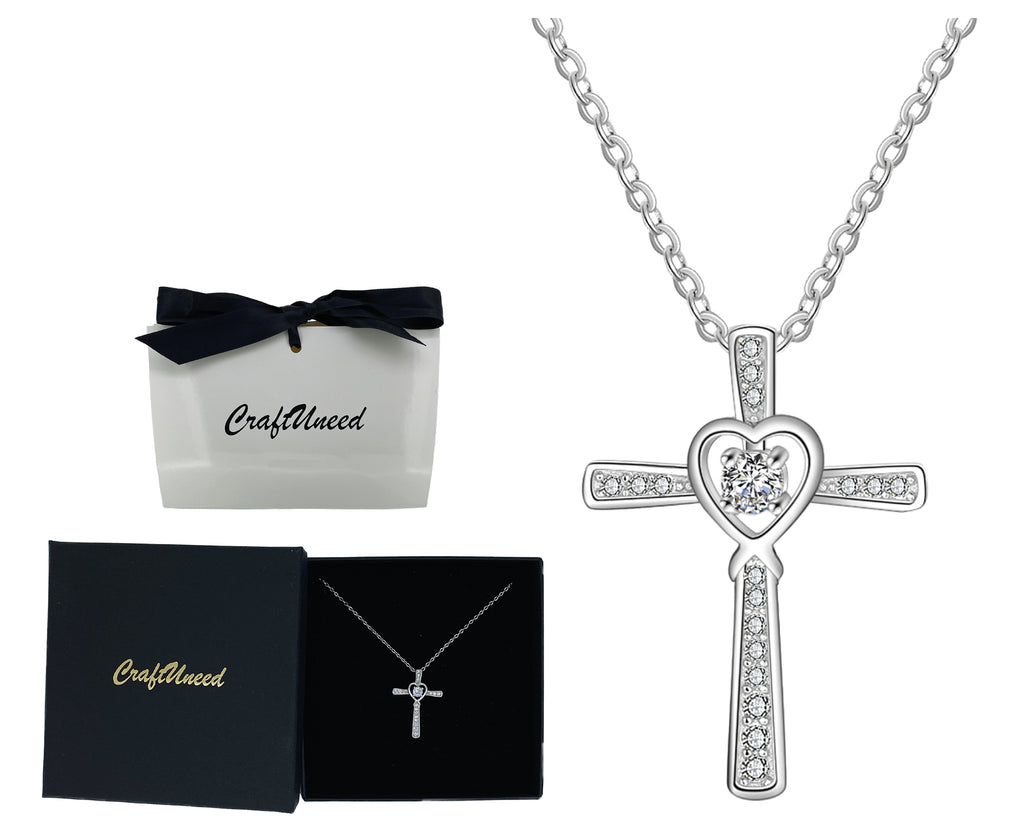 Craftuneed 925 silver zircon heart cross pendant necklace baptism jewellery gift for her mum birthday Christmas gift ideas