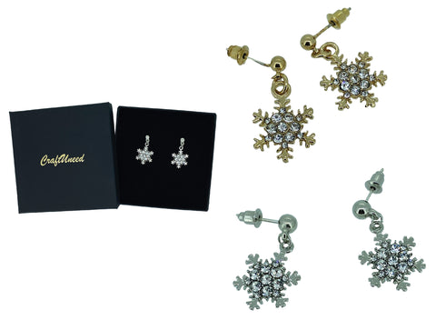 Craftuneed classic women snowflake rhinestones drop earrings with silver pins