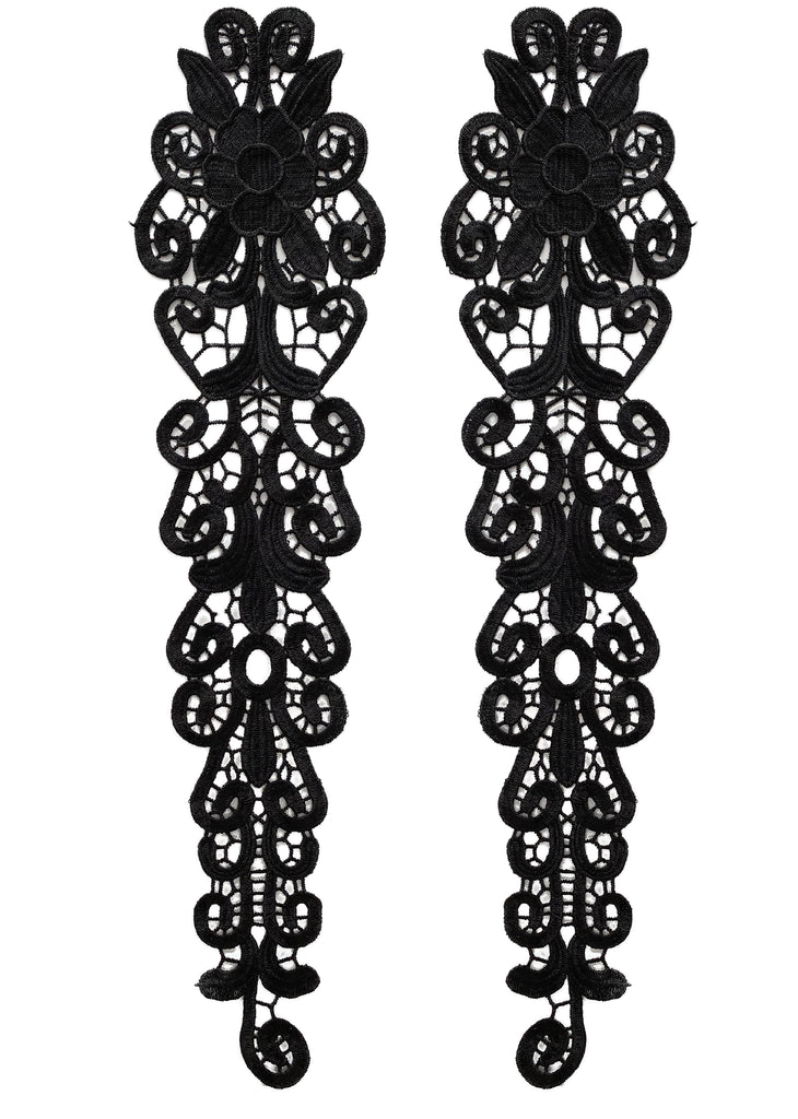 Craftuneed mirror match pair floral sleeves lace applique trim sew on long lace sleeve motif for dress making