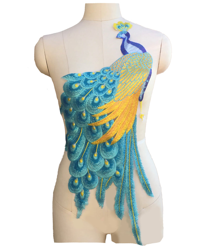 Craftuneed large piece of sew on peacock shape embroidered lace motif applique patch for dress sewing