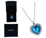 Craftuneed women classic zircon stone blue ocean heart pendant necklace stainless steel necklace jewellery