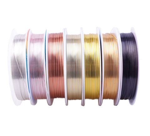 Craftuneed Job lot multi colours copper wire spools for Jewellery beading craft accessory available in 0.3mm-0.8mm
