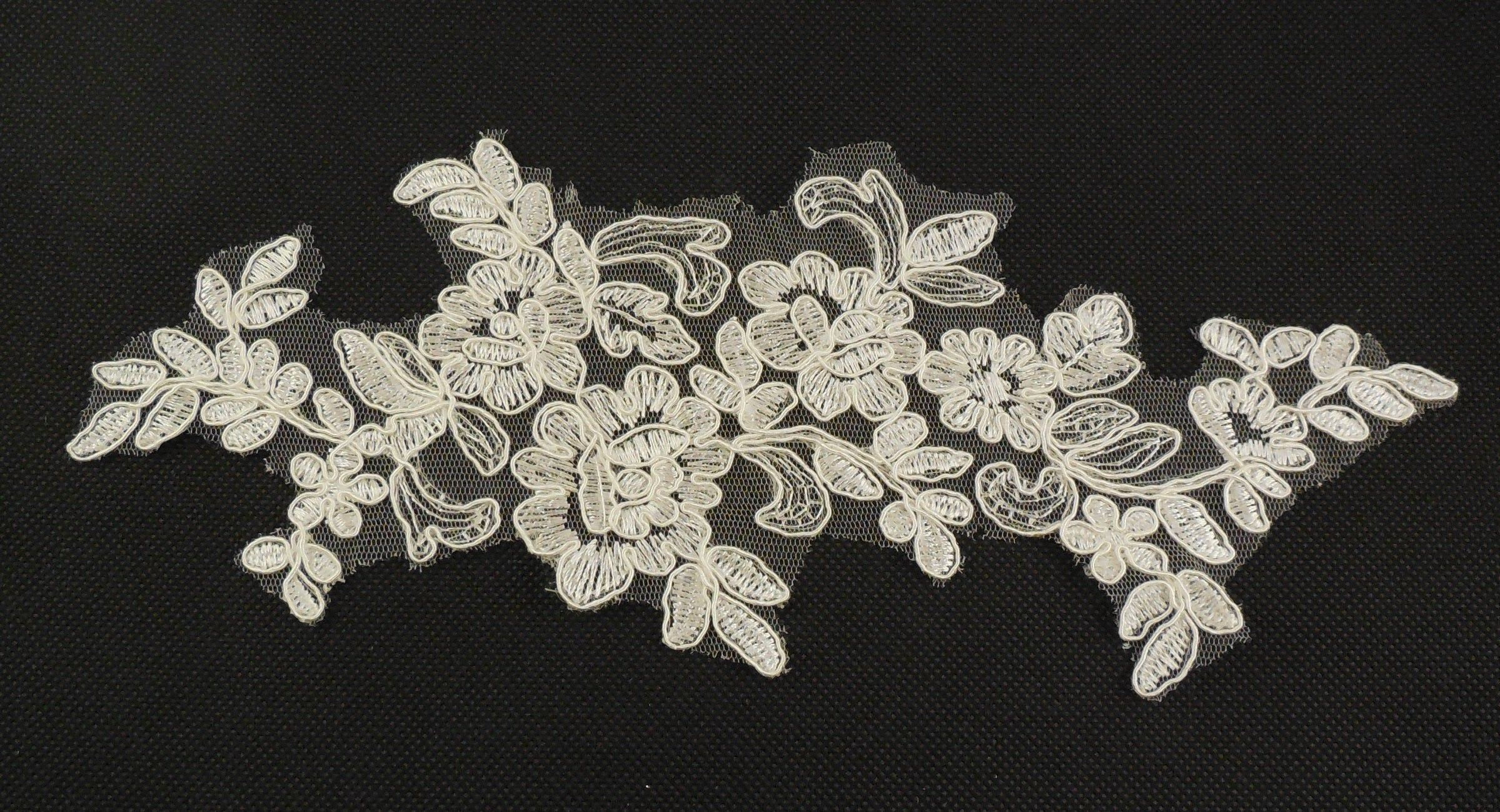 83f75739ced28 white or ivory floral lace applique / bridal wedding shoes lace ...