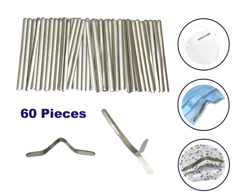 60 pieces Aluminium strips nose bridge wire adhesive wire clip for face mask craft DIY handcraft making