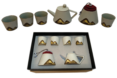 Luxury original hand paint Japanese tea set ceramic teapot with filter teacups and tea storage jar Tea maker kit gift set