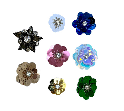 A piece of flower rhinestones applique motif sew on floral beads sequins patch motif applique Per Piece