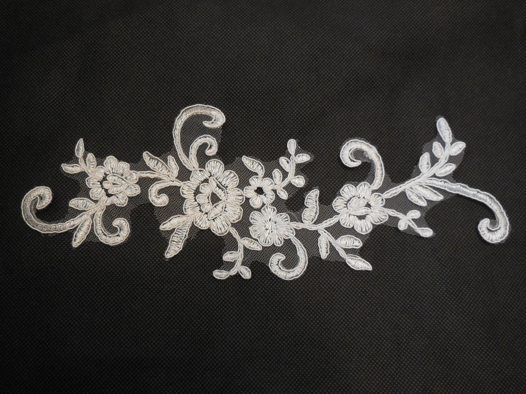 Ivory bridal cord floral lace Applique / lace motif for sale. 26x10cm. Sold by piece