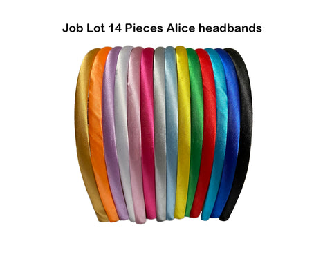 Job lot 14 pieces X women Alice headband satin fabric wrap alice band Alice hair head band