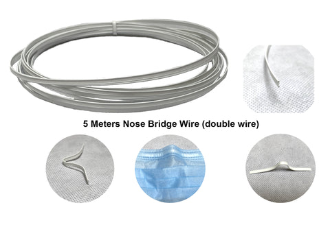 5 Meters X nose bridge wire nose adjuster wire nose clip strap strip bendable double wire 4mm width for mask DIY crafts accessories making