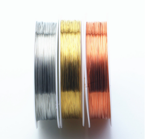 2 spools x Silver Gold Copper plated wire for Jewellery beading craft wire in 0.2mm -1mm