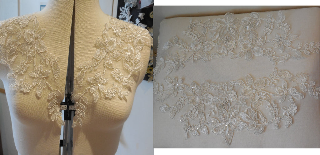 A Pair of dark ivory floral sequined lace collar appliques bolero lace motifs for sale. Sold by per pair 2 pieces