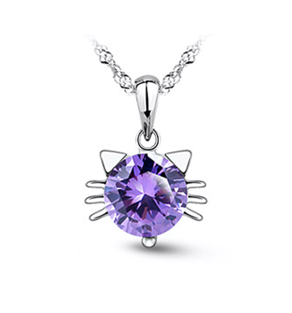 Craftuneed zircon cat kitty pendant 925 silver necklace jewellery gift box