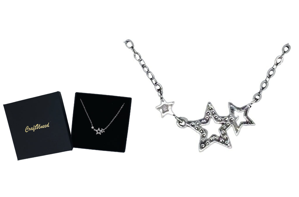 Craftuneed women 925 sterling silver stars pendant necklace jewellery gift box