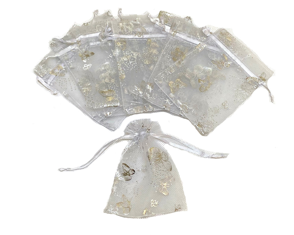 10 X luxury butterfly organza bags wedding party gift candy organza bags white Pouch bag small size