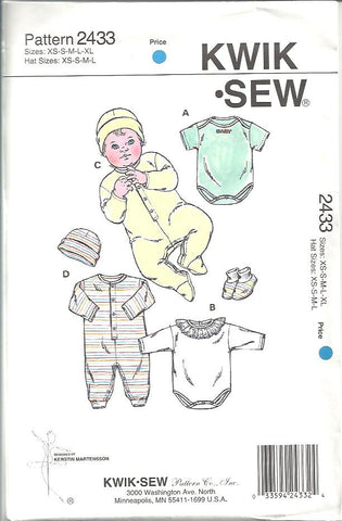 Kwik Sew - Baby Rompers, Jumpsuits, Cap and Booties (2433)