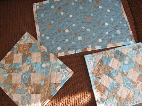 Table Toppers - 3 pieces in the set - Aqua/Brown