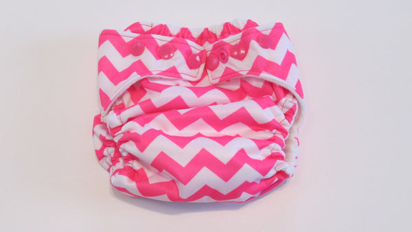Pocket Palz Pocket Diaper in Hot Pink Chevron-Fruit of the Womb Diapers