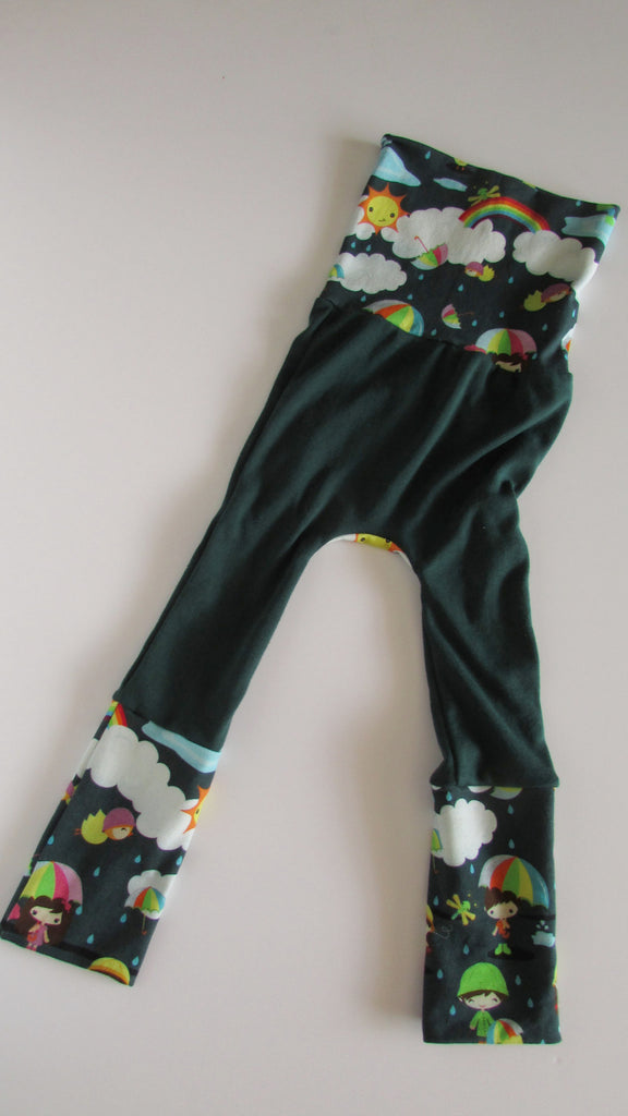 Baby Pants,Tapestry Roses on Teal Size Medium Maxaloones Diaper Pants Grow with Me Pants