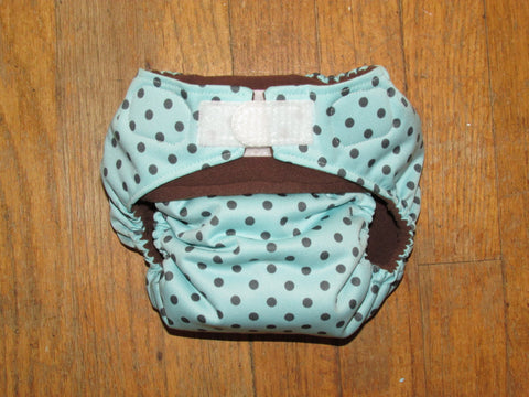 One Size TADA AIO Gray Polka Dots on Aqua
