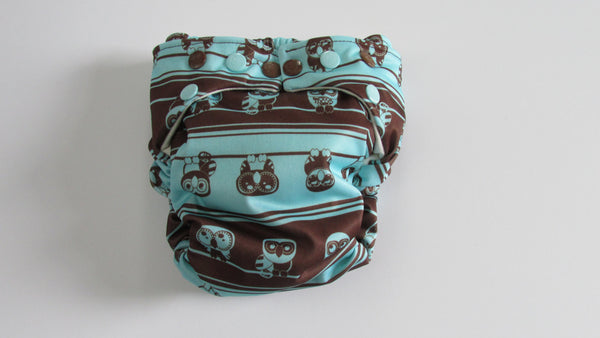 TADA AIO Chocolate Owls on Teal-Fruit of the Womb Diapers