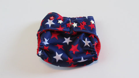 Pocket palz Pocket Diaper in Red and White Stars print-Fruit of the Womb Diapers