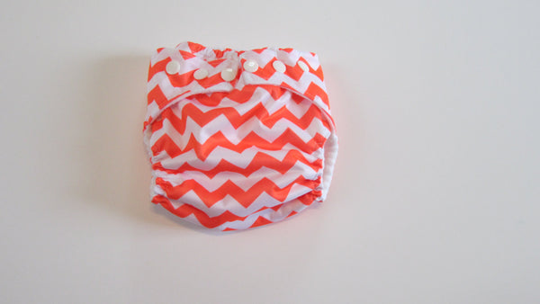 Pocket palz Pocket Diaper in Neon Orange Chevron print-Fruit of the Womb Diapers