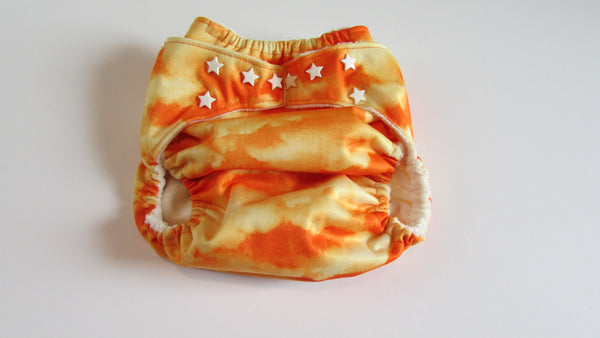 Pocket Palz Pocket Diaper in Orange Cloud print-Fruit of the Womb Diapers