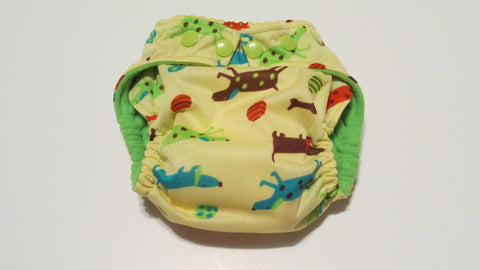Spotty Dogs on Cream Print pocket palz-Fruit of the Womb Diapers