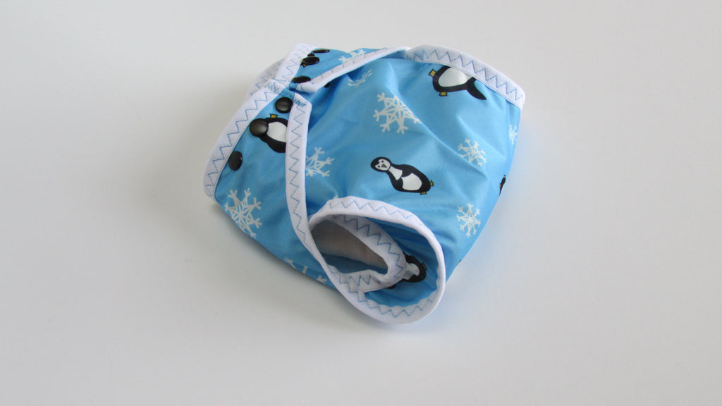 Penguins on Blue Diaper Cover-Fruit of the Womb Diapers