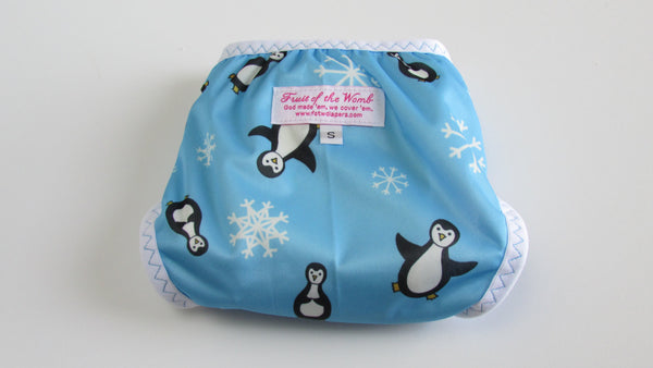 Penguins on Blue Diaper Cover