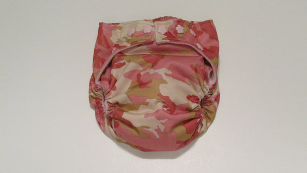 Pocket Palz Pocket Diaper in Pink and Tan Camo print-Fruit of the Womb Diapers