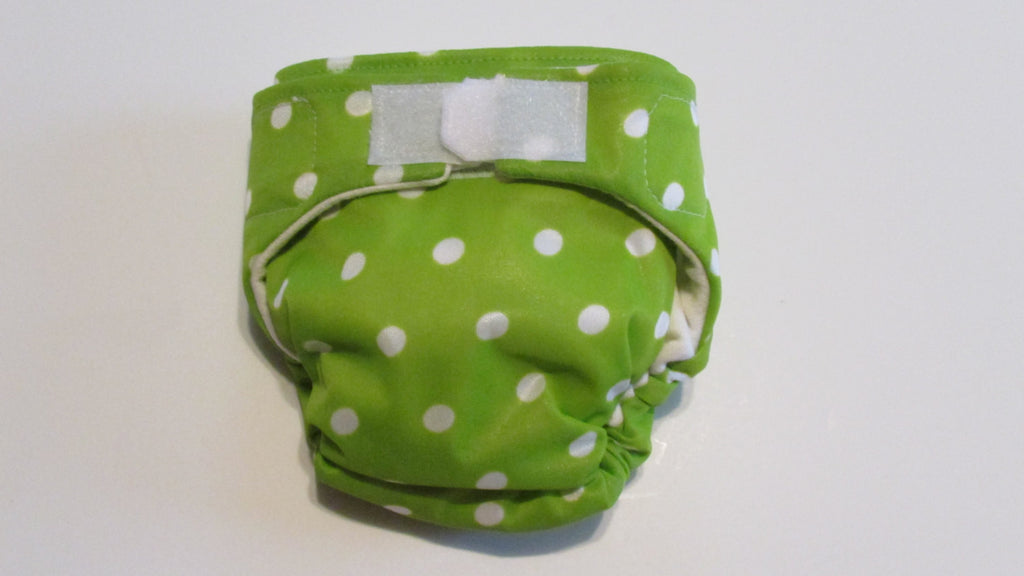 TADA AIO White Polka Dots on Lime Print-Fruit of the Womb Diapers