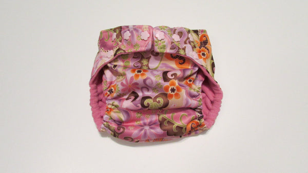 Pocket Palz Pocket Diaper in Pink Majik print with flower snaps-Fruit of the Womb Diapers
