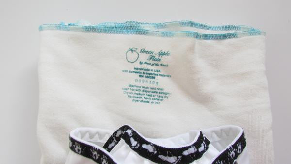Infant Green Apple Twist flat diapers in Black-Fruit of the Womb Diapers