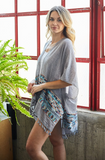 Orion Embroidered Tassel Kimono Grey