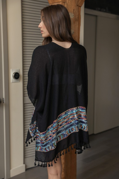 Orion Embroidered Tassel Kimono Black