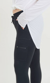 Zippered Athleisure Hybrid Black Joggers