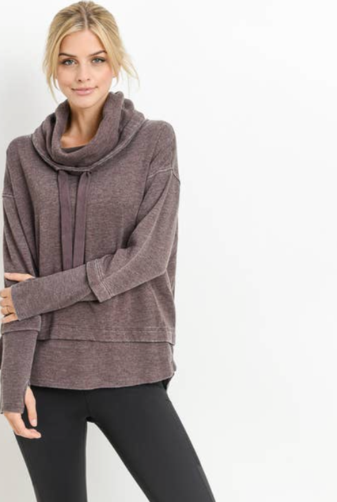 Mineral Wash Cowl Neck Pullover Dusty Purple
